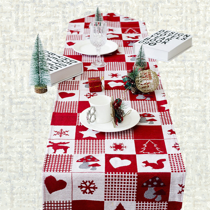 Chemin de table Noël rouge et blanc