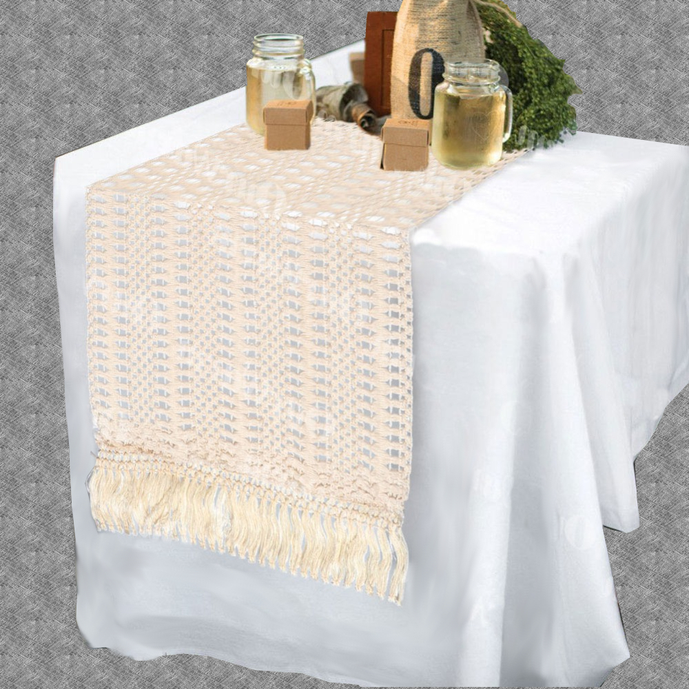 Chemin de table macramé beige