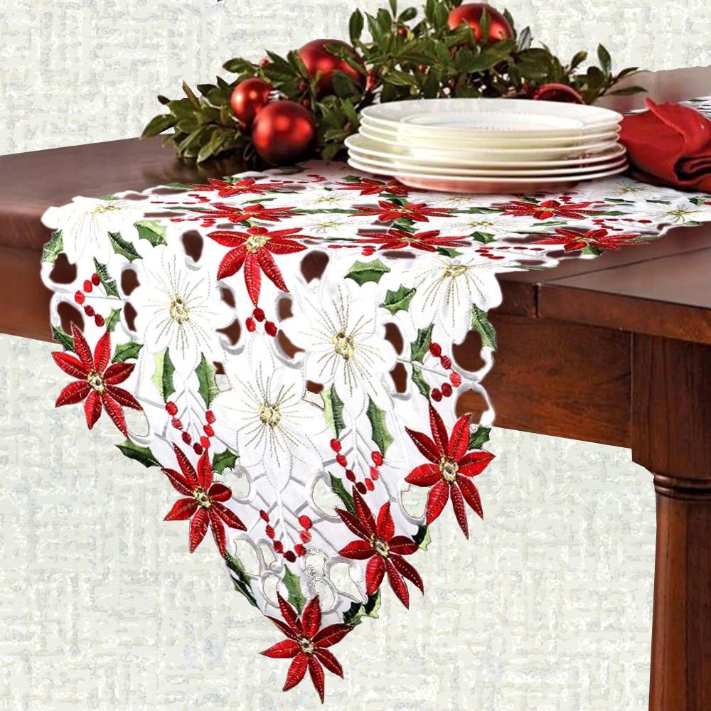 Chemin de table pour noël en fleur