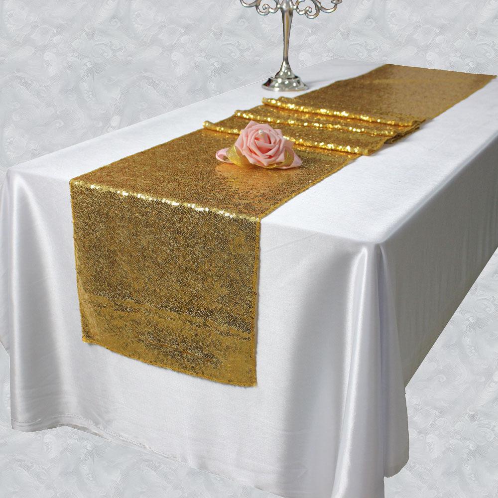 Chemin de table sequin or