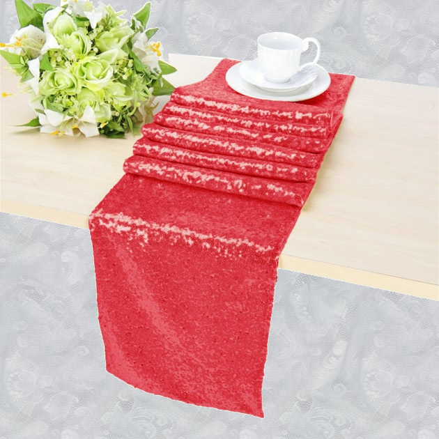 Chemin de table sequin rouge