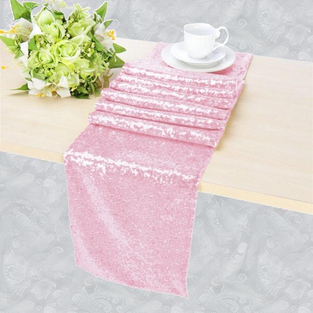 chemin de table sequin rose