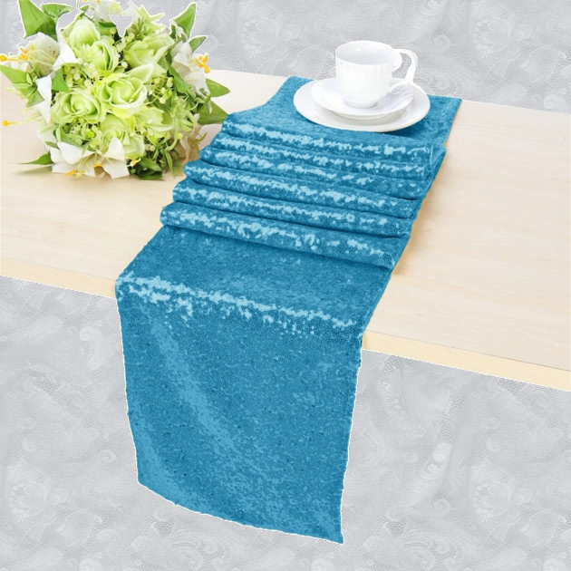 Chemin de table sequin bleu