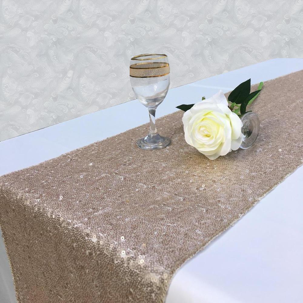 Chemin de table sequin champagne