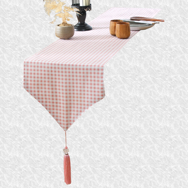 Chemin de table vichy rose