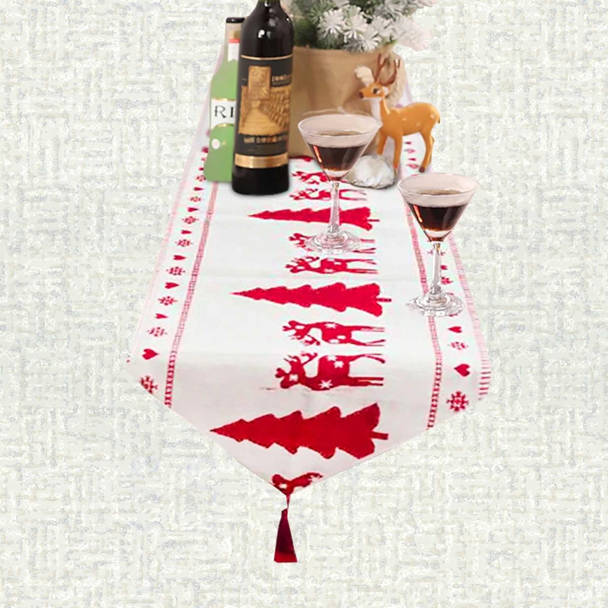 Chemin de table Noël blanc et rouge