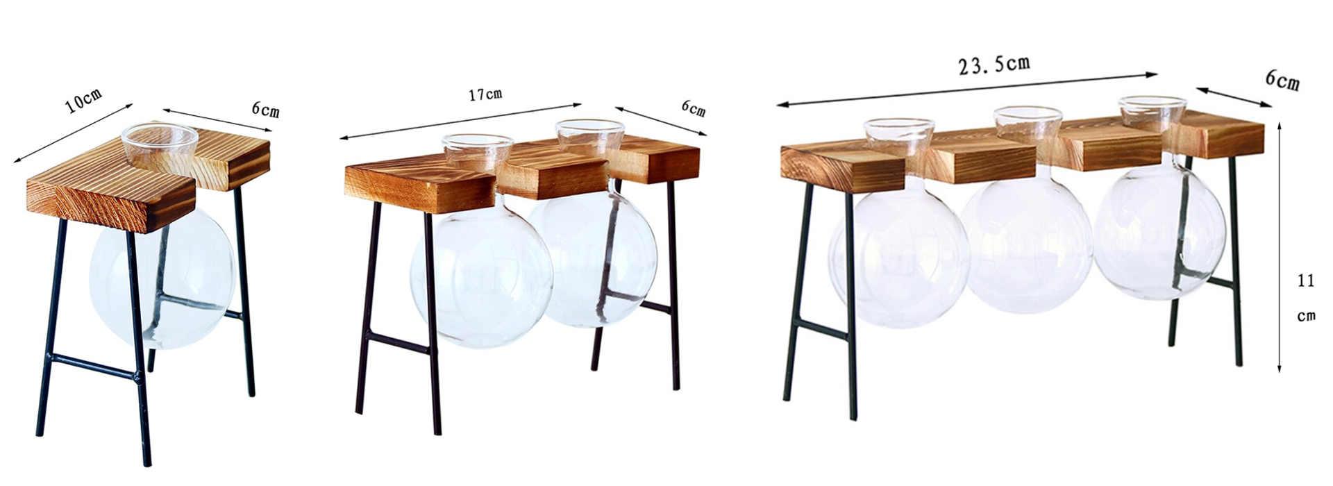 Dimensions d'un vase pour déco de table modèle présentoir bois