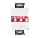 chemin-de-table-paques-oeufs-lapins-rose-moderne