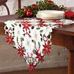 chemin-de-table-noel-fleur-blanc-rouge-vert