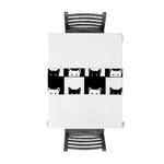 chemin-de-table-chats-noir-et-blanc