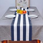 chemin-de-table-raye-bleu-et-blanc-moderne