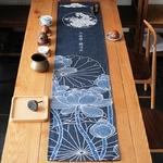 chemin-de-table-japonais-lotus-bleu-voyage-lin-coton