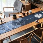 chemin-de-table-japonais-lotus-bleu-anniversaire-coton-lin