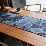 chemin-de-table-japonais-lotus-bleu-anniversaire-lin-coton