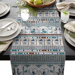 chemin-de-table-egypte-anniversaire-voyage-bleu