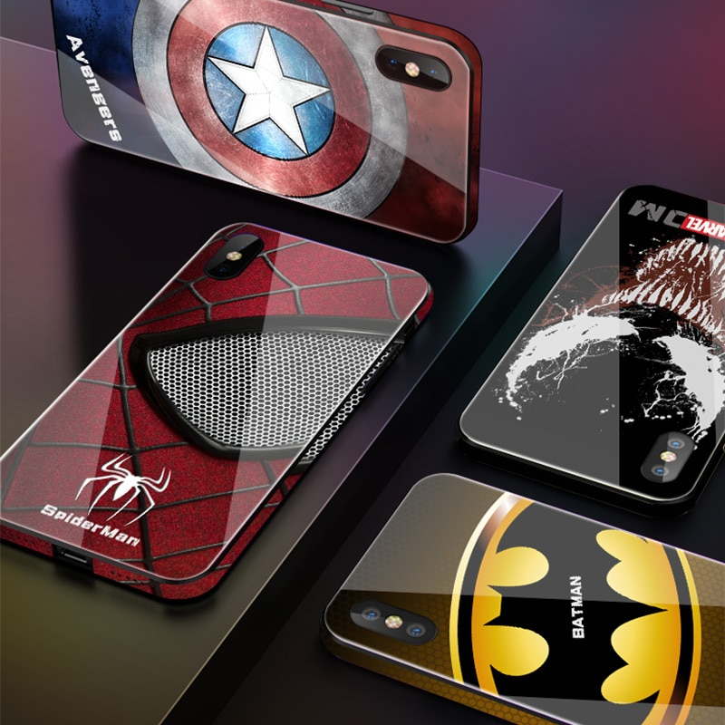 Luxe-Marvel-Avengers-Verre-Tremp-T-l-phone-tuis-pour-iphone-8-7-6-6s-Plus