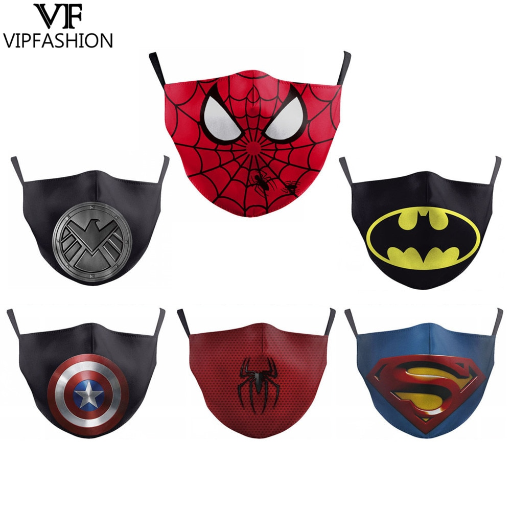 Masque adulte Lavable impression masque Spiderman Batman Marvel Captain america Spiderman  masque  lavable tissu