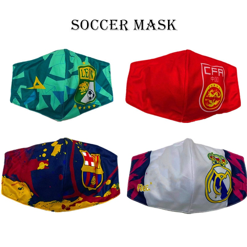 Equipe de Football Foot masque pays masques tissus protection covid Juventus Milan Real Barca Liverpool Arsenal Paris Psg