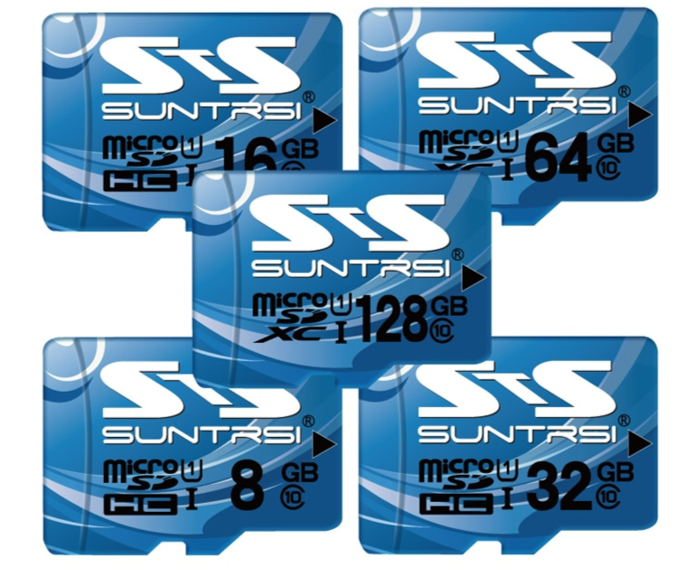 Suntrsi Carte Mémoire 128 GB 64 GB 32 GB carte micro sd 16 GB 8 GB Class10 carte mémoire flash Microsd pour smartphone/ tablet Bateau Libre
