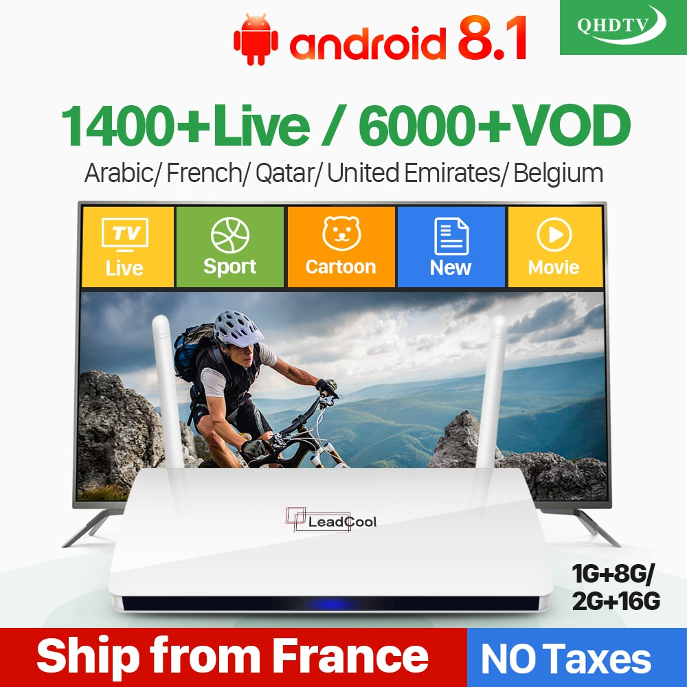 Leadcool IPTV France Box Android français arabe IPTV Rk3229 QHDTV abonnement 1 an belgique néerlandais arabe France IPTV