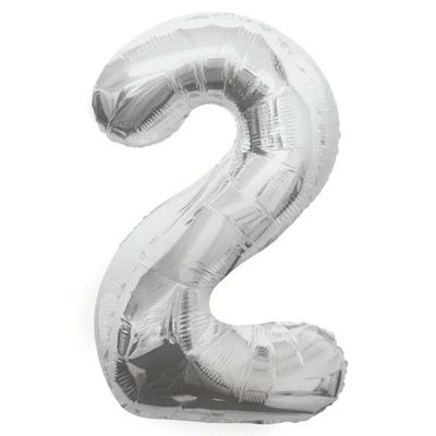 Ballon géant chiffre 2 aluminium argent 104 cm