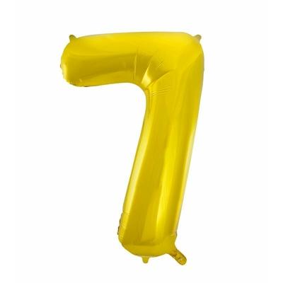 Ballon géant chiffre 7 aluminium doré 104 cm