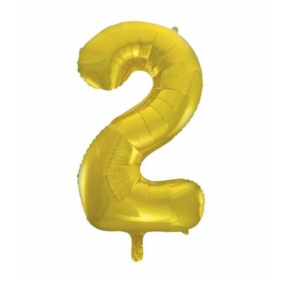 Ballon géant chiffre 2 aluminium doré 104 cm