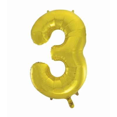 Ballon géant chiffre 3 aluminium doré 104 cm