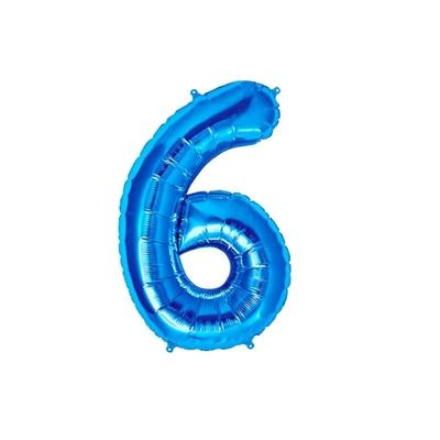 Ballon géant chiffre 6 aluminium bleu 104 cm