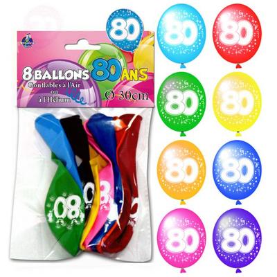 8 ballons imprimés 80