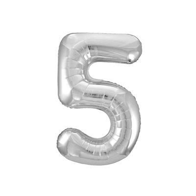 Ballon géant chiffre 5 aluminium argent 104 cm