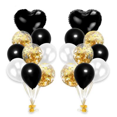 Bouquet ballons noir et or