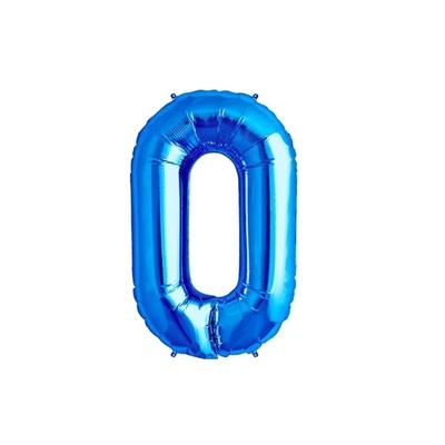 Ballon géant chiffre 0 aluminium bleu 104 cm