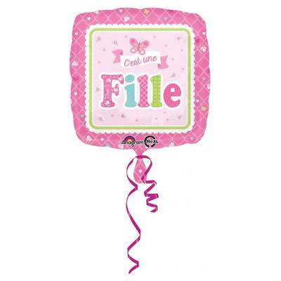 """Ballon rose """" C'est Une Fille """""""
