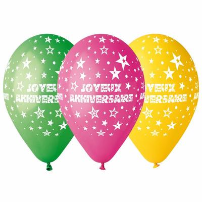 10 ballons imprimés joyeux anniversaire