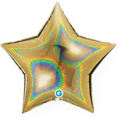 Ballon holographique étoile or en aluminium
