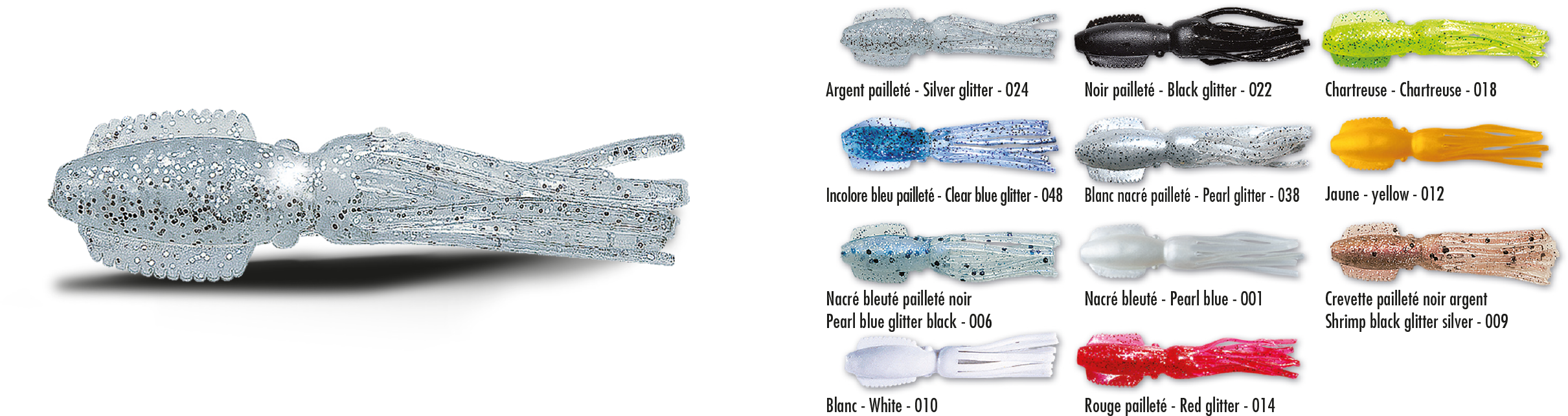 3 leurres souples DELALANDE SQUID 7cm