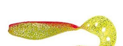 3 leurres souples DELALANDE SANDRA 9cm coloris CHARTREUSE DOS ROUGE