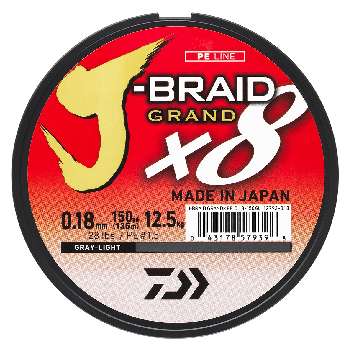 Tresse 8 brins DAIWA J-BRAID GRAND X8 coloris Gris