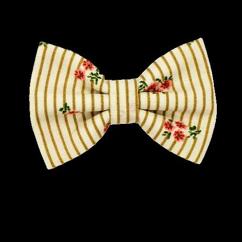Barrette anti glisse écru rayure beige fleuri