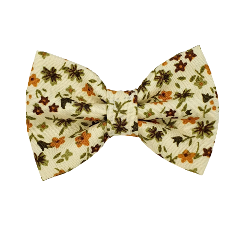Barrette anti glisse écru motif fleur orange