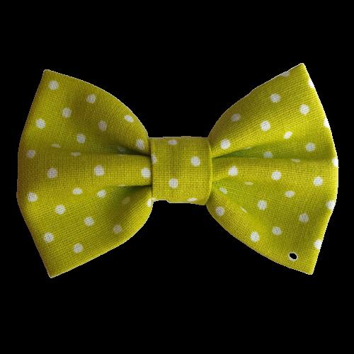 Barrette noeud papillon anti glisse couleur vert à pois blanc