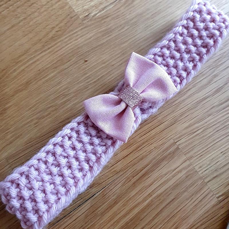 Headband hiver en laine couleur vieux rose