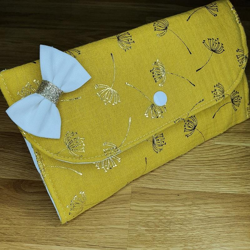 Porte barrettes double gaze moutarde motif or