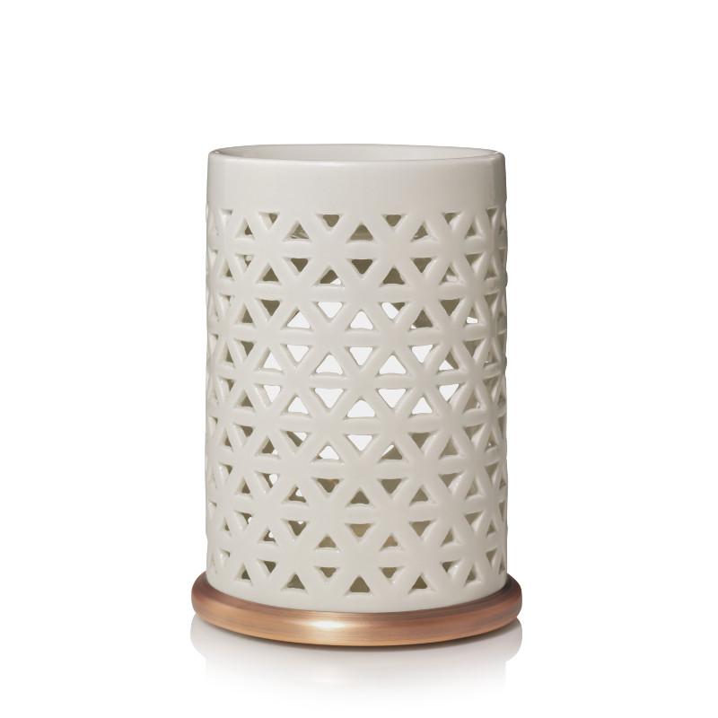 Brûleur blanc et cuivré motif maillage