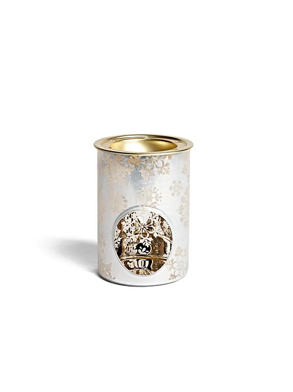 Brûleur blanc et doré motif flocons