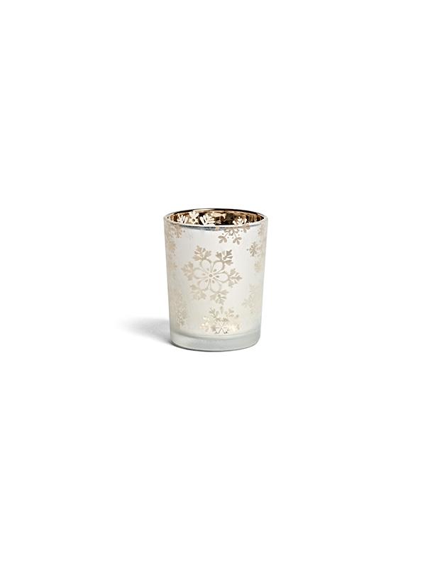 Photophore blanc et doré motif flocons