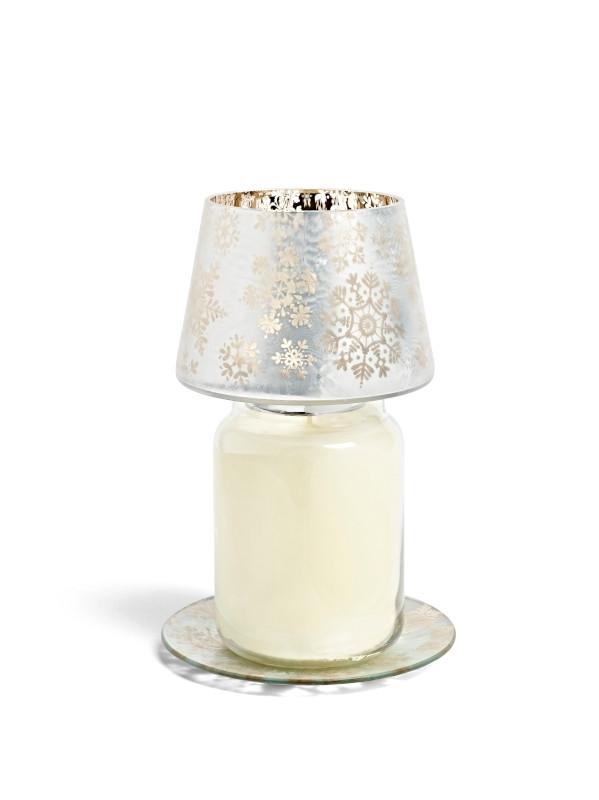 Grand abat-jour et plateau blanc et doré motif flocons 1