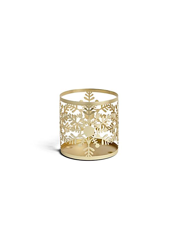 Porte-jarre doré motif flocons