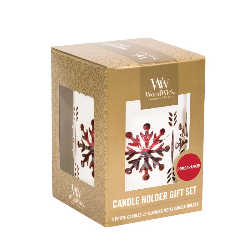 Coffret petites bougies et un photophore blanc motif flocons
